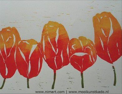 Kunst kaart tulpen - afbeelding 1